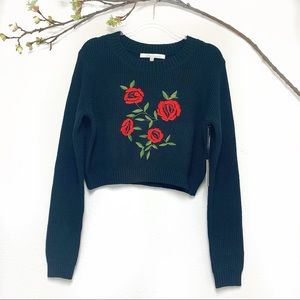 Lovers + Friends cropped sweater embroidered roses